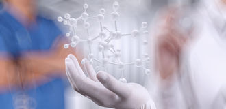 Scientist doctor hand holds virtual molecular structure Royalty Free Stock Photo