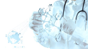 Scientist doctor hand touch virtual molecular structure in the l. Ab as medical concept stock photography