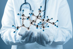 Scientist doctor hand touch virtual molecular structure Royalty Free Stock Image