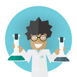 Scientist or doctor holding flask in hands Royalty Free Stock Image