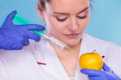 Scientist doctor injecting apple. GM Food. Scientist doctor injecting apple with syringe. Woman chemist holding genetically modified fruit. GM food modification stock photos
