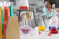 Scientist doing experiment Stock Photos