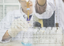 Scientist is doing the experiment, the titration of the reagent in the flask and fill chemical reagent in to test tube Royalty Free Stock Photography