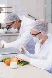 Scientist doing experimentation on vegetables Royalty Free Stock Photo