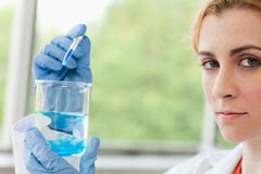 Scientist dropping liquid in a beaker Stock Images