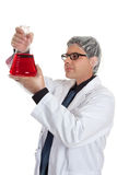 Scientist with erlenmeyer flask Royalty Free Stock Photo