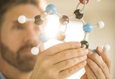 Scientist Examining Molecular Structure Stock Image