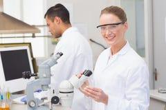 Scientist examining petri dish smiling at camera Royalty Free Stock Images