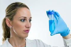 Scientist examining tube Stock Photography