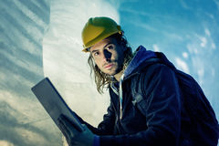 Scientist At An Expedition Site Examining A Glacier Royalty Free Stock Images