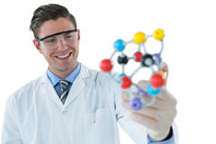 Scientist experimenting molecule structure Royalty Free Stock Image