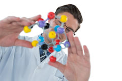 Scientist experimenting molecule structure Royalty Free Stock Images