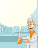 Scientist explaining about his experiment. Vector Illustration of a Scientist Explaining the experiment by holding a beaker of chemical liquid in laboratory Royalty Free Stock Image