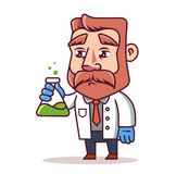 Scientist with a flask stock illustration
