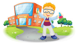 A scientist in front of a school building Stock Image