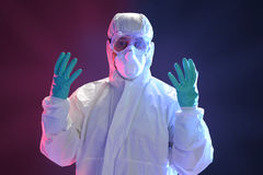 Scientist in full protective hazmat suit Royalty Free Stock Photography