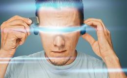 Scientist in futuristic glasses Stock Photography