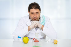Scientist genetically modifying fruits and vegetables in the laboratory Royalty Free Stock Photography