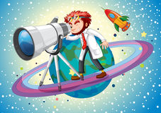Scientist with giant telescope Stock Image