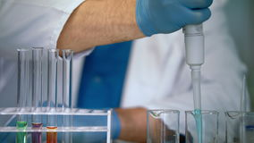 Scientist hands pouring liquid samples into test tubes. Laboratory equipment stock video