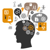 Scientist head with gears and thought bubbles Royalty Free Stock Photos