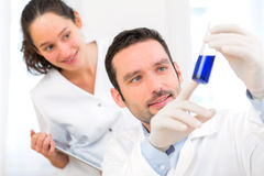 Scientist and his assistant working in a lab Royalty Free Stock Images