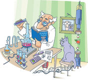 The Scientist and his Cat Royalty Free Stock Image