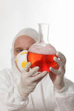 Scientist holding antidote Stock Photo