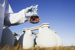 Scientist holding a chemical sample in a flask Royalty Free Stock Photography