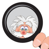 Scientist. Holding a magnifying glass in his hand royalty free illustration