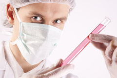 Scientist Holding Tube Royalty Free Stock Photo