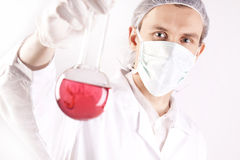 Scientist Holding Tube. Scientist Experimenting witch red fluids in laboratory Stock Photo