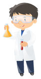 Scientist holding two beakers. Illustration Stock Images