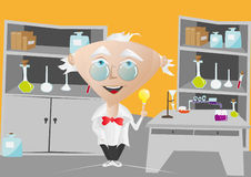 Scientist idea. An image scientist in laboratory with light bulb above his finger Stock Photography