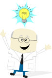 Scientist with idea lamp Stock Photo