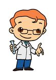 Scientist Illustration. An illustration of a male scientist or researcher.  Isolated against a white background Stock Photo
