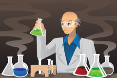 Scientist in lab. A vector illustration of a scientist working in a lab royalty free illustration