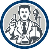 Scientist Lab Researcher Chemist Retro Circle Stock Images