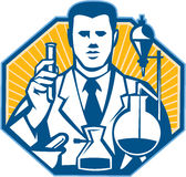 Scientist Lab Researcher Chemist Retro. Illustration of scientist laboratory researcher chemist holding test tube flask done in retro style royalty free illustration
