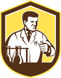 Scientist Lab Researcher Chemist Shield Retro. Illustration of scientist laboratory researcher chemist holding test tube with flasks set inside shield crest on Stock Images