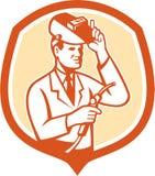 Scientist Lab Researcher Welder Shield Retro. Illustration of scientist laboratory researcher chemist welder holding welding torch with helmet visor set inside Royalty Free Stock Image
