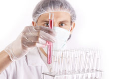 Scientist and lab Tubes. Scientist Experimenting witch red fluids in laboratory Stock Images