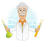 Scientist in laboratory. Vector illustration of Scientist is holding beaker of chemicals liquid in laboratory Royalty Free Stock Images