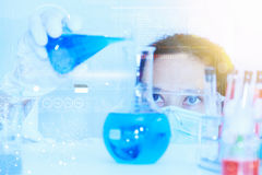 Scientist with laboratory background and concept. Royalty Free Stock Photography