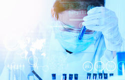 Scientist with laboratory background and concept. Stock Photos