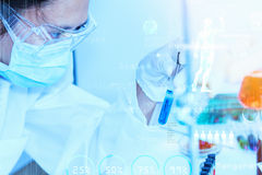 Scientist with laboratory background and concept. Royalty Free Stock Images
