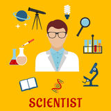 Scientist and laboratory equipment flat icons Stock Photos