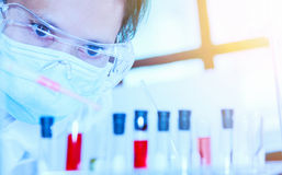 Scientist with laboratory ,eyes focus background and concept. Stock Photography