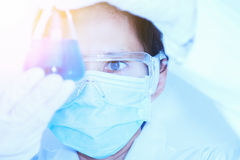 Scientist with laboratory ,eyes focus background and concept. Royalty Free Stock Photos