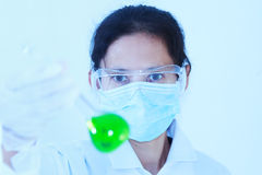 Scientist with laboratory ,eyes focus background and concept. Stock Photo